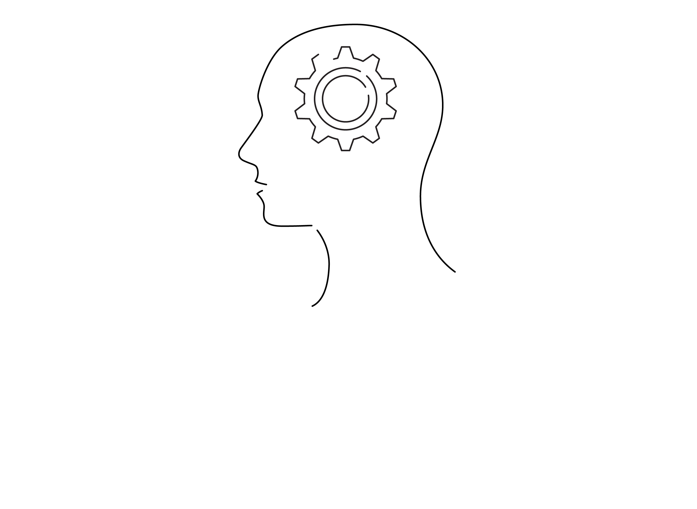 icon of a head with a gear in it, indicates thinking